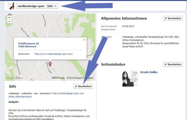 Info bearbeiten in Facebook Fanpage
