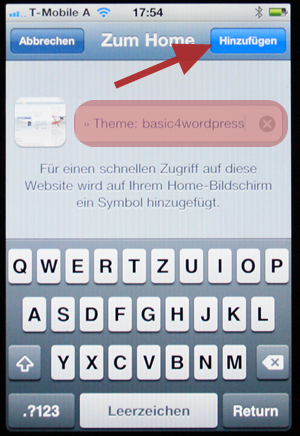 Webseite als App hinzufügen iphone