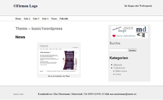Blogseite Theme basic1wordpress