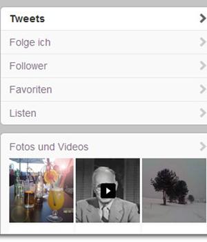 Twitter Menue