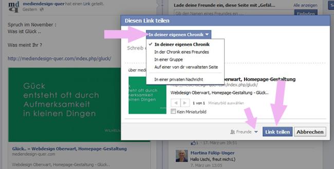 Facebook Teilen Funktion