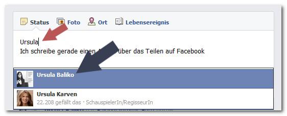 Facebook Person markieren
