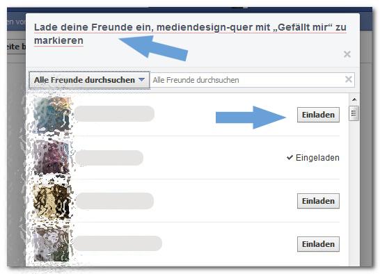 Facebook lade deine Freunde ein