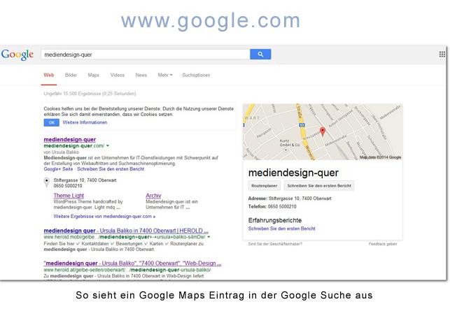 Google Places Eintrag in der Google Suche