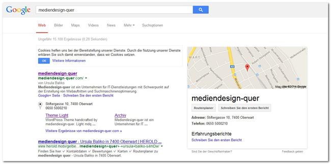Mein Eintrag bei Google Places