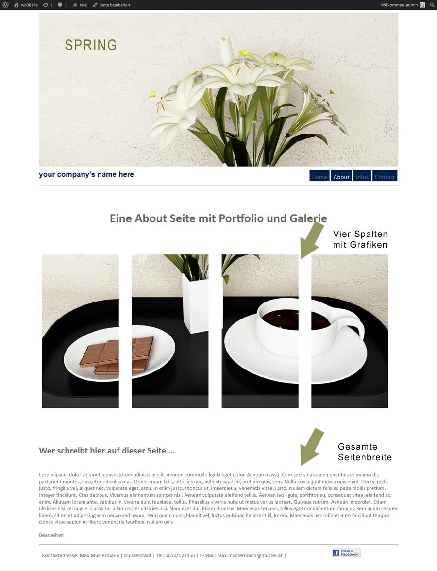 Seitentemplate für Theme Spring