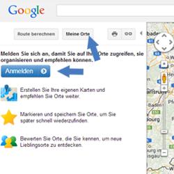 Klassische Google Maps Meine Orte anmelden