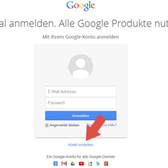 Konto erstellen bei Google
