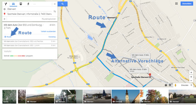Neues Google Maps - Route Oberwart