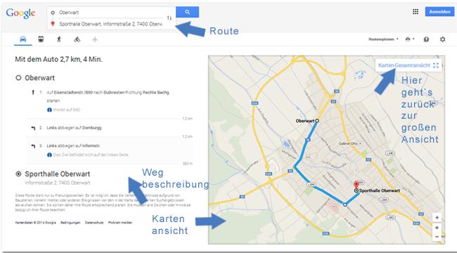 Neues Google Maps Routenbeschreibung