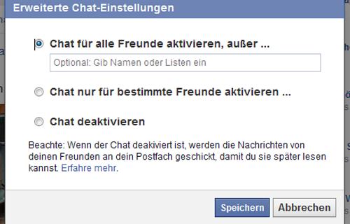 Facebook erweiterte Chatfunktion