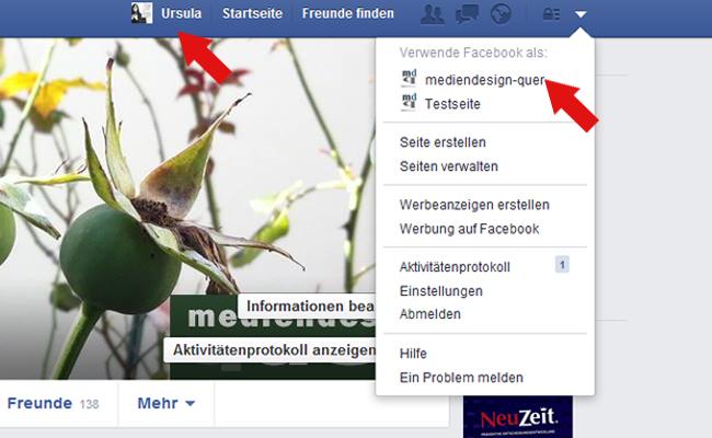 Facebook als Person liken