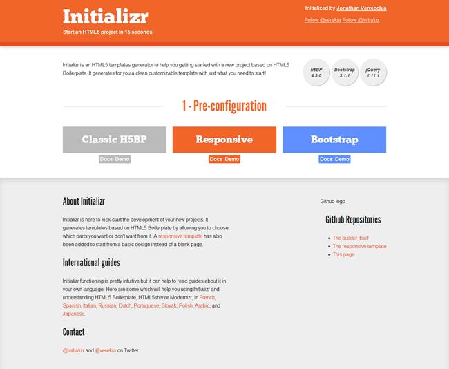 Initializr.com Webseite