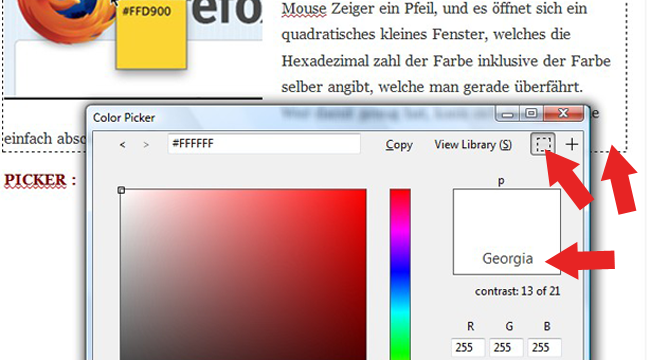 Schriftpicker Rainbow Color Tools