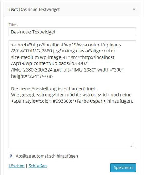 WordPress Text Widget