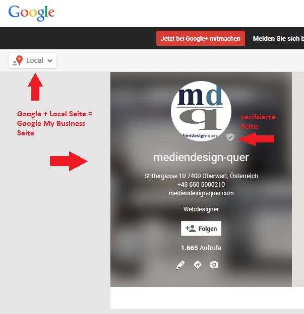verifizierte Google+ Local Seite
