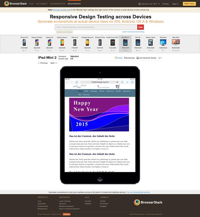 Browserstack Responsive Tester