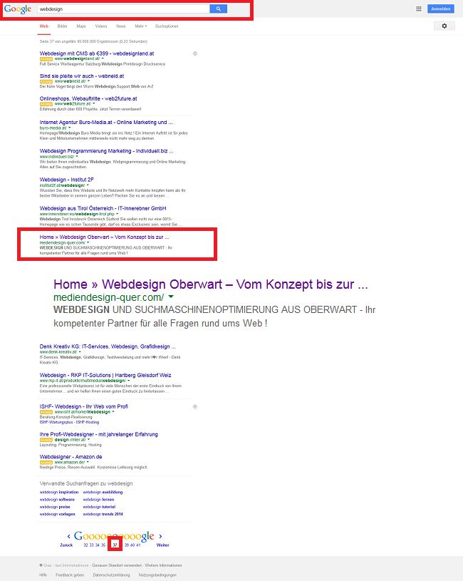 Keyword Webdesign in der Google Suche