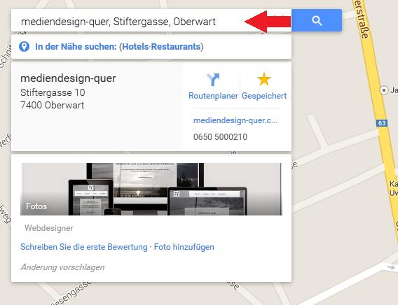 Google Maps Suchleiste
