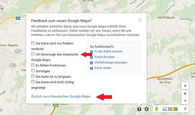 Feedback zu klassischer Google Maps