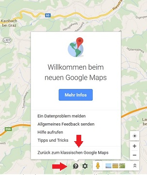 Zurück zu Klassichen Google Maps