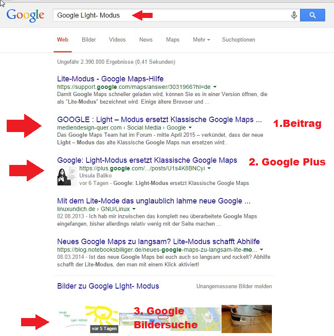 Google Suche - Light Modus