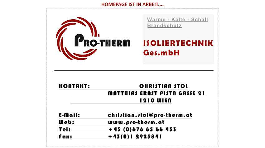 pro-therm.at - Webvisitenkarte