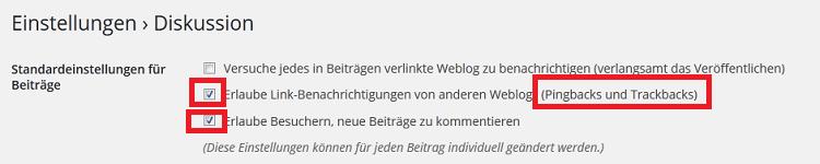 WordPress Standardeinstellung-Kommentare