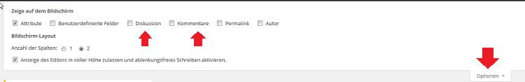 WordPress Anzeige Optionen