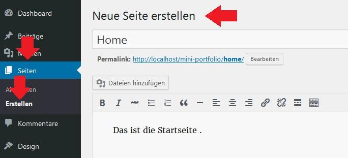 wordpress-startseite-erstellen