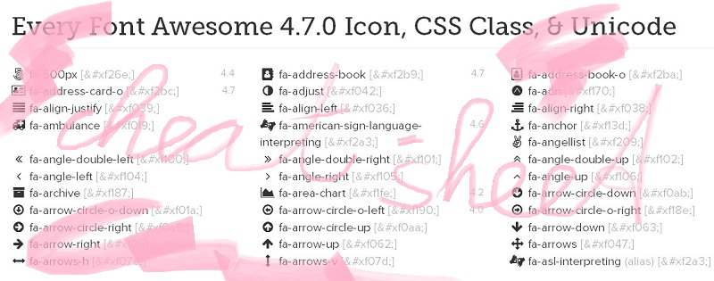 font-awesome-cheat-sheet