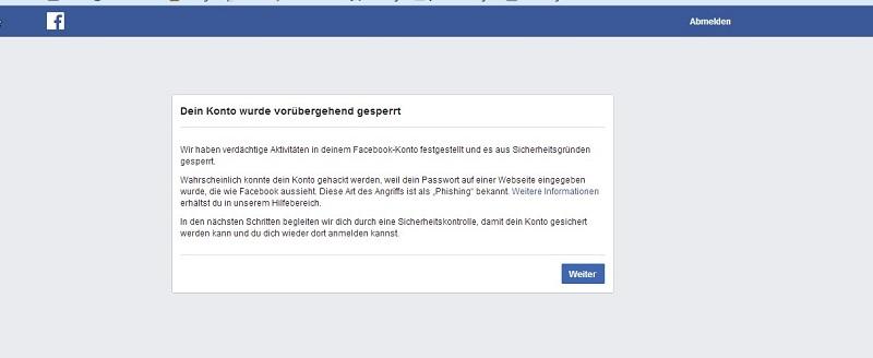 facebook-konto-voruebergehend -gesperrt