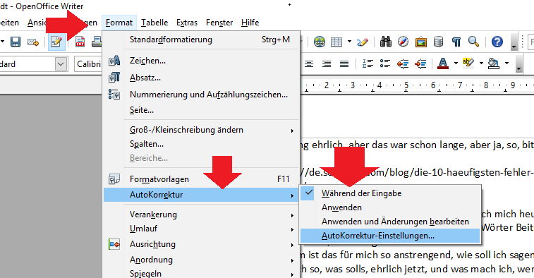 open-office-format-einstellungen