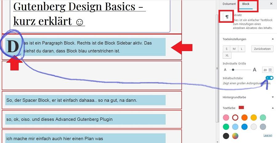 gutenberg-texteinstellungen
