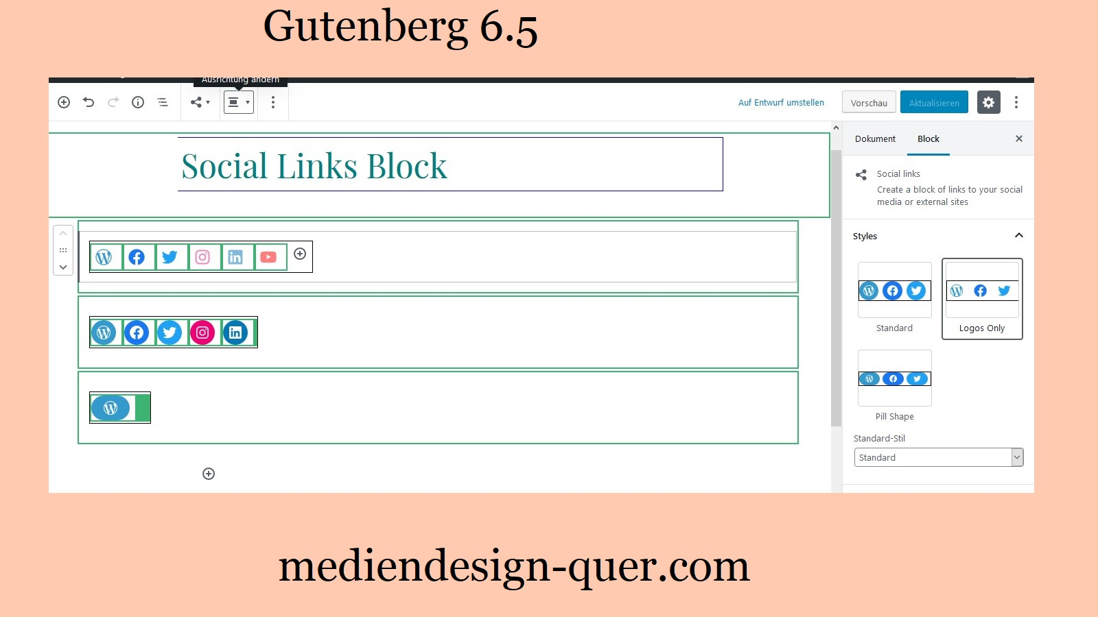Social Links Block Gutenberg